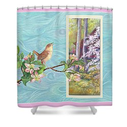 Shower Curtain featuring the painting Peacock And Cherry Blossom With Wren by Judith Cheng