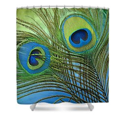 Peacock Candy Blue And Green Shower Curtain by Mindy Sommers