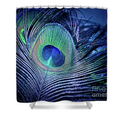 Shower Curtain featuring the photograph Peacock Feather Blush by Sharon Mau