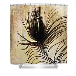 Peacock Feather Silhouette Shower Curtain by Sarah Loft