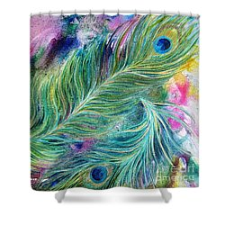 Peacock Feathers Bright Shower Curtain by Denise Hoag
