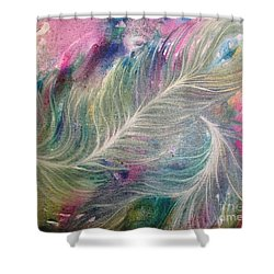 Peacock Feathers Pastel Shower Curtain by Denise Hoag