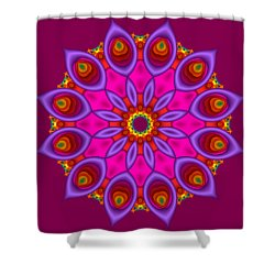 Peacock Fractal Flower II Shower Curtain