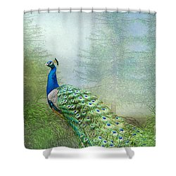 Peacock In The Forest Shower Curtain