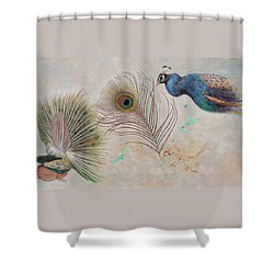 Shower Curtain featuring the painting Peacock In Three Views by Nancy Lee Moran