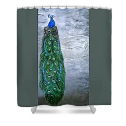 Peacock In Winter Shower Curtain