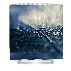 Shower Curtain featuring the photograph Peacock Macro Feather And Waterdrops by Sharon Mau