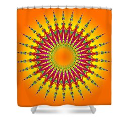 Peacock Sun Mandala Fractal Shower Curtain