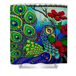 Peacock Zentangle Inspired Art Shower Curtain