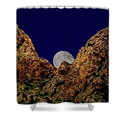 Shower Curtain featuring the photograph Peak Full Moon H03 by Mark Myhaver