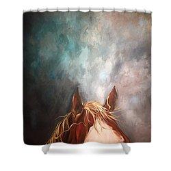 Peakabo  Shower Curtain by Heather Roddy