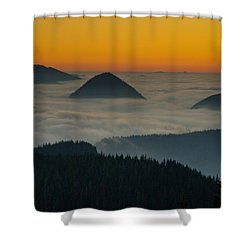Peaks Above The Fog At Sunset Shower Curtain