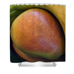 Shower Curtain featuring the digital art Pear And Banana by Jana Russon