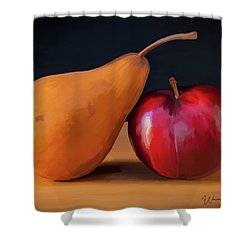 Pear And Plum 01 Shower Curtain by Wally Hampton