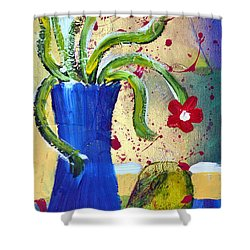 Pear And Red Flowers Shower Curtain
