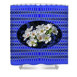 Pear Blossoms And Georgia Blue Floral Abstract Shower Curtain