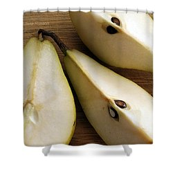 Pear Cut In Three Shower Curtain