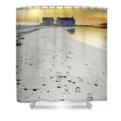 Pear Tree Footsteps Shower Curtain by Diana Angstadt