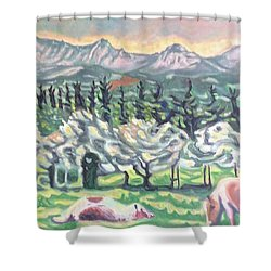 Pear Trees Shower Curtain