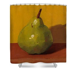 Pear With Yellow Shower Curtain