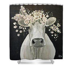 Pearlette The Cow Shower Curtain