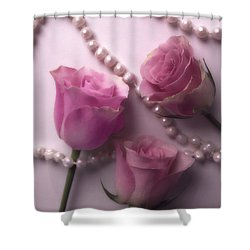 Pearls And Roses 2 Shower Curtain