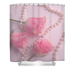 Pearls And Roses Shower Curtain