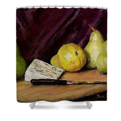 Shower Curtain featuring the pastel Pears And Cheese by Jack Skinner