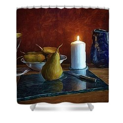 Shower Curtain featuring the photograph Pears By Candlelight by Mark Fuller