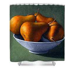 Pears In Blue Bowl Shower Curtain