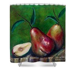 Shower Curtain featuring the painting Pears Still Life by Thomas Lupari