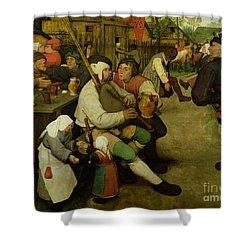 Peasant Dance Shower Curtain by Pieter the Elder Bruegel