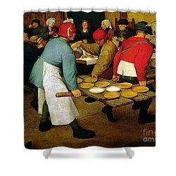 Peasant Wedding Shower Curtain by Pieter the Elder Bruegel
