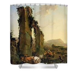 Peasants With Cattle By A Ruined Aqueduct Shower Curtain by Nicolaes Pietersz Berchem