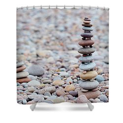 Pebble Stack II Shower Curtain by Helen Northcott