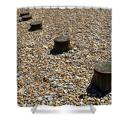 Pebbles And Wood Shower Curtain