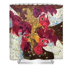 Pecking Order Shower Curtain by Jame Hayes