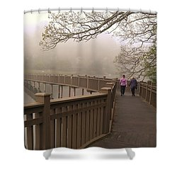 Pedestrian Bridge Early Morning Shower Curtain