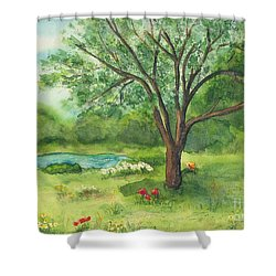 Shower Curtain featuring the painting Pedro's Tree by Vicki  Housel