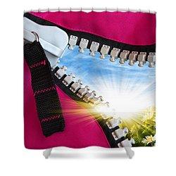 Peeking Spring Shower Curtain by Carlos Caetano