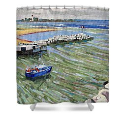 Peerlessly Outbound Shower Curtain