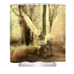 Pegasus Comes Shower Curtain
