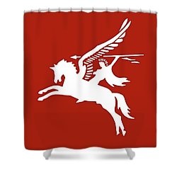 Pegasus In War Shower Curtain by Kristin Elmquist
