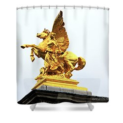 Pegasus On Pont Alexandre IIi Shower Curtain by John Rizzuto