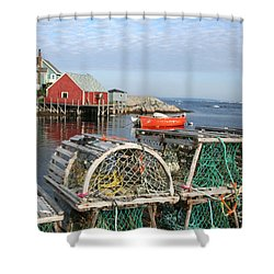 Peggys Cove And Lobster Traps Shower Curtain by Thomas Marchessault