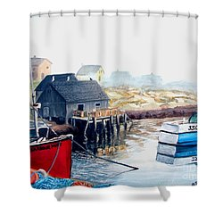 Shower Curtain featuring the painting Peggy's Cove Harbour by Patricia L Davidson