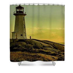 Peggys Cove Lighthouse At Sunset  Shower Curtain by Ken Morris