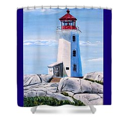 Shower Curtain featuring the painting Peggy's Cove Lighthouse by Marilyn  McNish