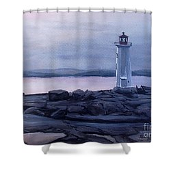 Shower Curtain featuring the painting Peggy's Cove Lighthouse  by Patricia L Davidson
