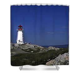 Peggy's Cove Lighthouse Shower Curtain by Sally Weigand